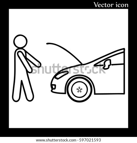 Car Mechanic Under Hood Uniform Repairs Stock Vector
