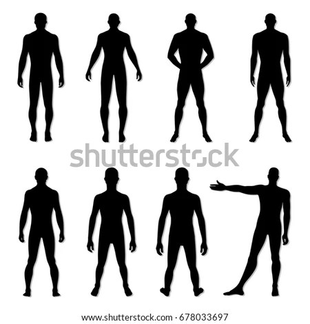 Full Length Front Back Silhouette Man Stock Vector