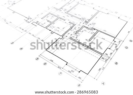 Architectural Layout Floor Plan Grid Lines Stock