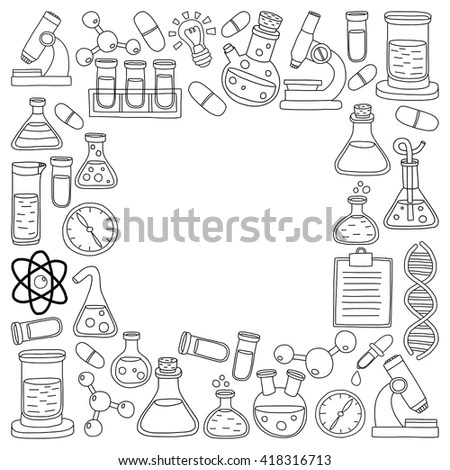 Science Lab Concept Flat Flasks Physics Stock Vector