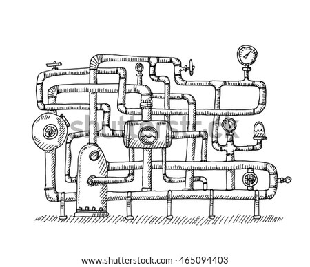 Technical Drawing Breakup Assembly Radial Cylinder Stock