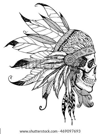 Indian Skull Headdress Feathers Leader Tribe Stock Vector