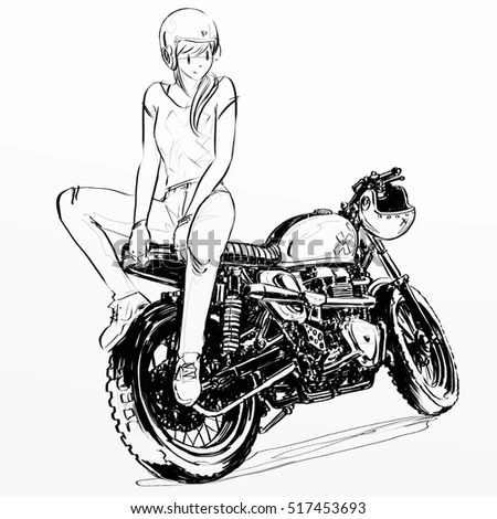 Motorcycle Poster Illustration Hand Drawing Sketch Stock