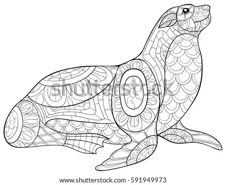 Sea Turtle Vector Stylized Drawing Stock Vector 368216525