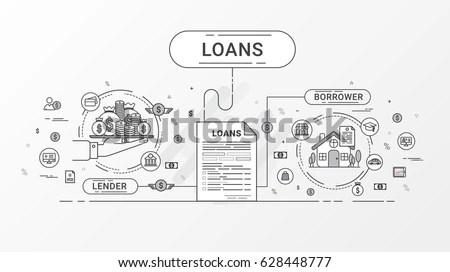Loans Info Graphics Loan Agreement Between Stock Vector