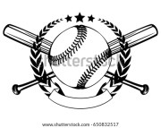 vector illustration crossed baseball