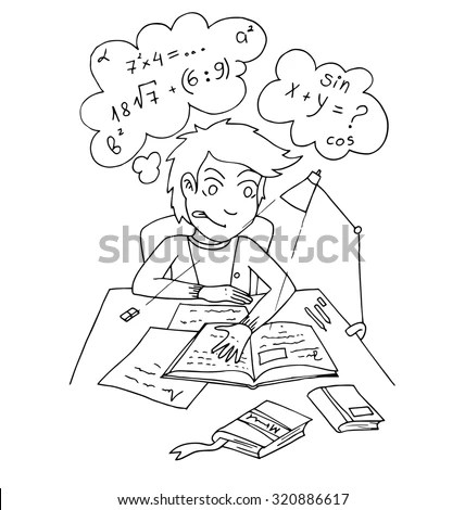 Kids Draw On Tablet Outline Cartoon Stock Vector 363843272