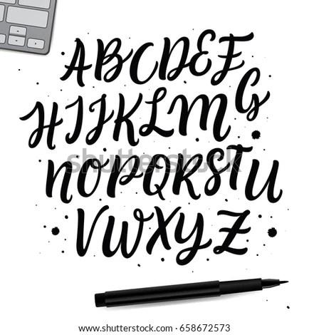 Vector Set Handwritten Abc Characters Calligraphy Stock