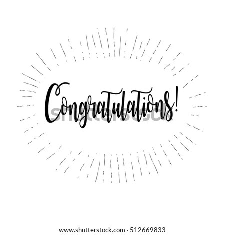 Congratulations Card Calligraphy Lettering Vector
