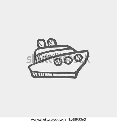 Cruise Ship Vector Sketch Icon Isolated Stock Vector