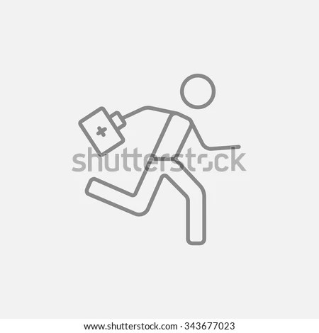 Paramedic Running First Aid Kit Line Stock Vector