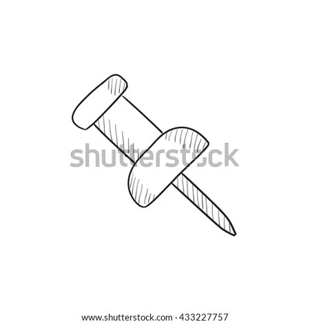 Push Pin Line Icon Filled Outline Stock Vector 601056611