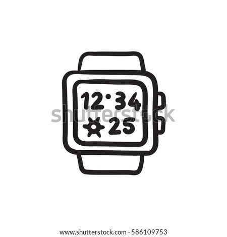 Smart Watch Sport Running Shoes Burning Stock Vector