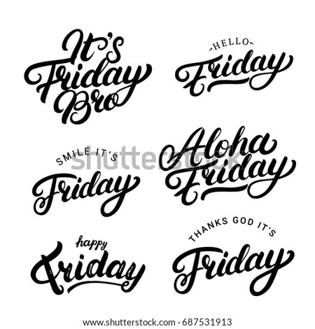 Set Weekend Quotes Enjoy Your Weekend Stock Vector