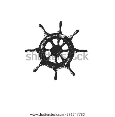 Ship Steering Wheel Hand Draw Sketch Stock Vector