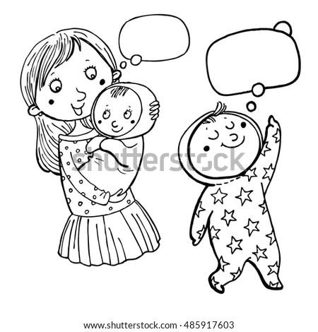 Vector Set Happy Mom Daughter Kid Stock Vector 277598363