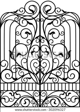 Wrought Iron Gate Door Fence Stock Vector 232314751