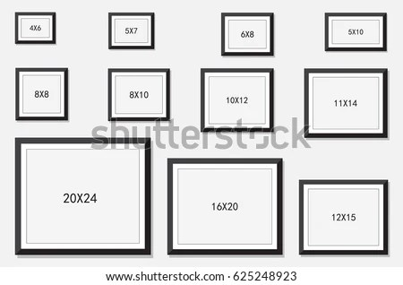 Photo Frame Standard Picture Size Area Stock Vector