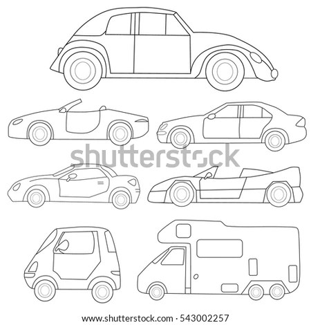 Pickup Truck Vector Outline Doodle Illustration Stock