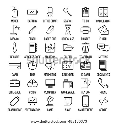 Set Office Icons Modern Thin Line Stock Vector 485130328