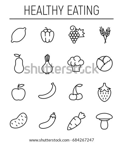 Fruits Vegetables Vector Icons Stock Vector 245603029