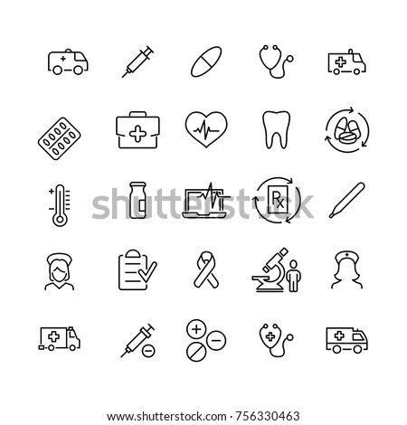 Healthy Medical Symbol Line Icon On Stock Vector 149508167
