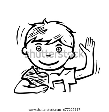 Pupil Raising His Hand Answering Question Stock Vector