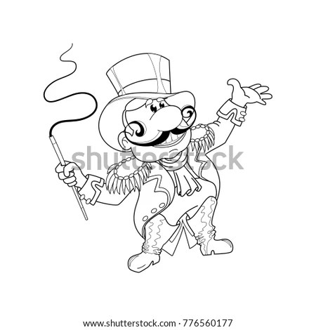 Coloring Page Cartoon Gold Miner Coloring Stock Vector