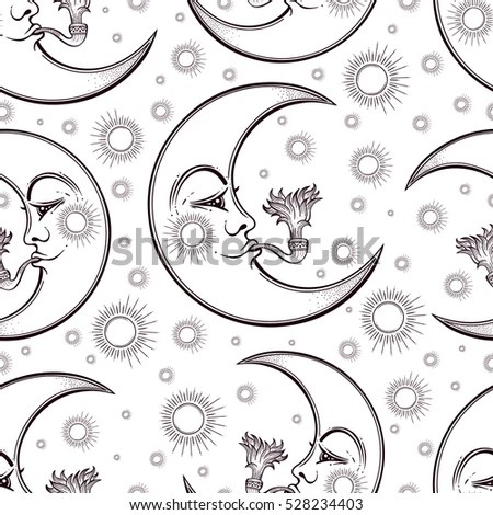 Hand Draw Seamless Pattern Moon Smoking Stock Vector