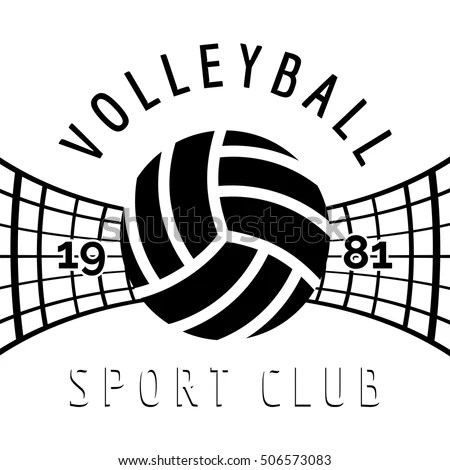 Black White Volleyball Emblem Isolated On Stock Vector