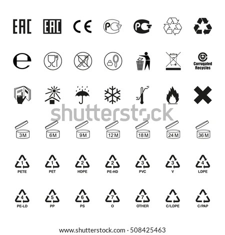 Packaging Symbols Set Icons On Packaging Stock