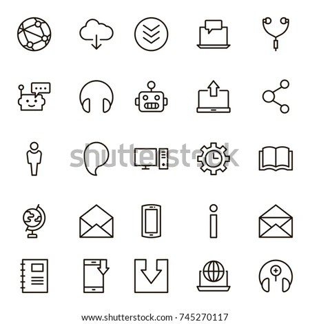 Set Contact Support Thin Line Icons Stock Vector 572377249