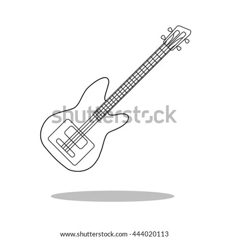 Electric Guitar Drawing Outline Rock Guitar Drawing