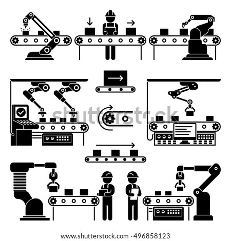 Conveyor Production Manufacturing Line Workers Vector