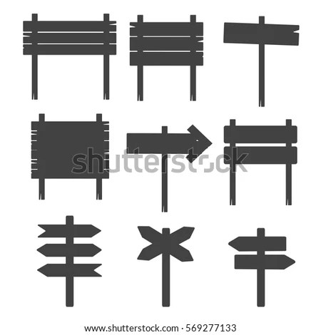 Old Wooden Blank Cartoon Sign Boards Stock Vector