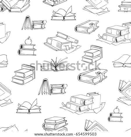 Hand Drawn Doodle Books Reading Set Stock Vector 555014359