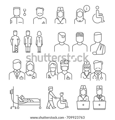 Doctor Patient Nurse Thin Line Icons Stock Vector