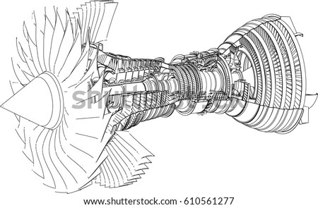 Jet Engine Isometrics Vector Line Illustration Stock