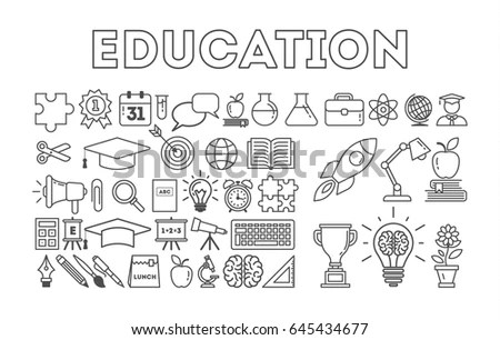 Illustration School Icons Student Icons Back Stock Vector