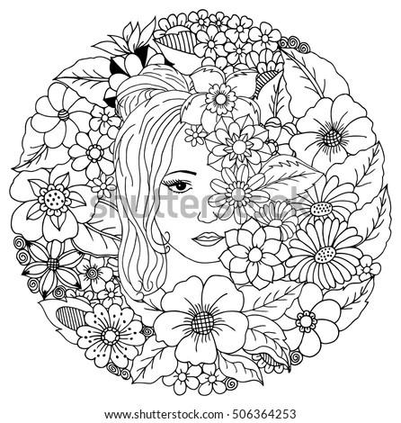 Profile Female Silhouette Flowers Stock Vector 93197239