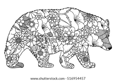 Vector Illustration Zentangl Indian Elephant Flowers Stock