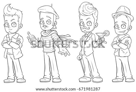 Group Three Children School Boy Being Stock Vector