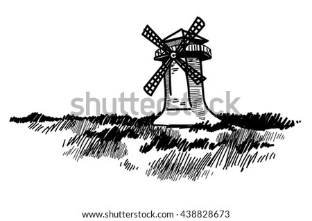 Lonely Mill On Hill Vector Drawing Stock Vector 93856627
