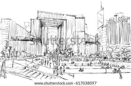 Urban City Street Scene Novosibirsk Black Stock