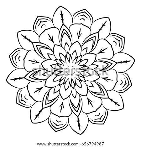 Abstract Adult Coloring Page Flower Mandala Stock Vector