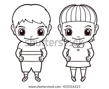 Simple Drawing Girl Image Different Characters Stock