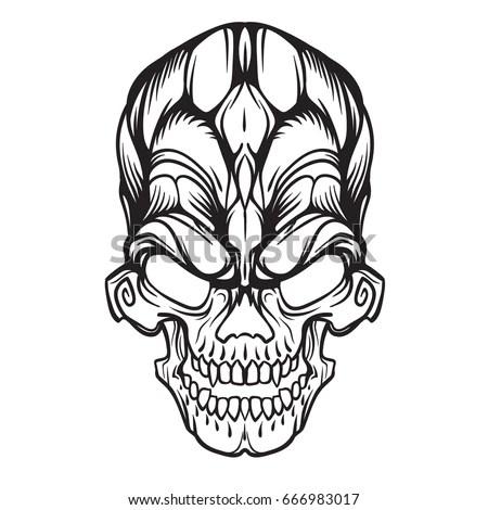 Skull Barbed Wire Tattoo Design Vector Stock Vector