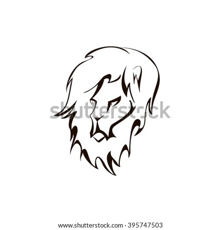 Outline Drawing Dogs Head Words English Stock Vector