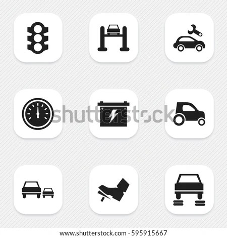 Set 16 Editable Traffic Icons Includes Stock Vector