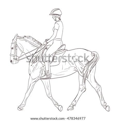 Cowboy Riding Horse Series Wild West Stock Vector 97034822